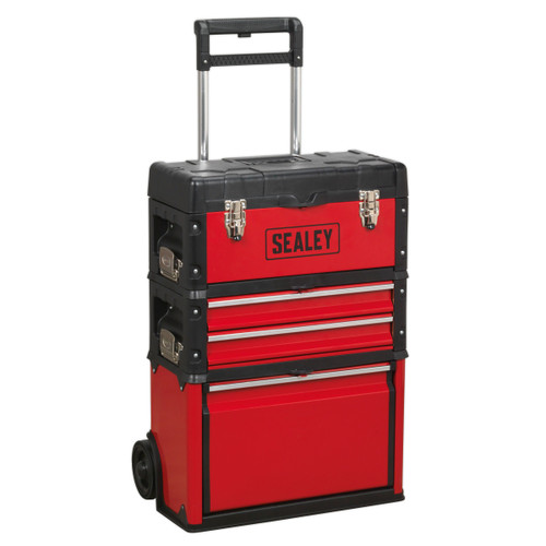 Buy Sealey AP548 Mobile Steel/Composite 3 Compartment Toolbox (Red/Black) at Toolstop