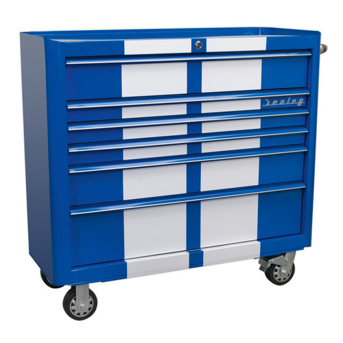 Buy Sealey AP41206BWS Rollcab 6 Drawer Wide Retro Style - Blue With White Stripes at Toolstop