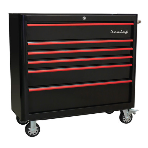 Buy Sealey AP41206BR Rollcab 6 Drawer Wide Retro Style - Black With Red Anodised Drawer Pulls at Toolstop