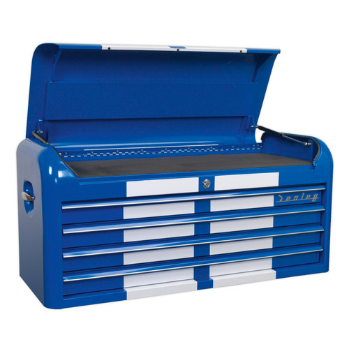 Buy Sealey AP41104BWS Topchest 4 Drawer Wide Retro Style - Blue With White Stripes at Toolstop