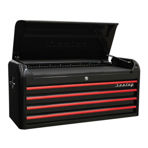 Buy Sealey AP41104BR Topchest 4 Drawer Wide Retro Style - Black With Red Anodised Drawer Pulls at Toolstop