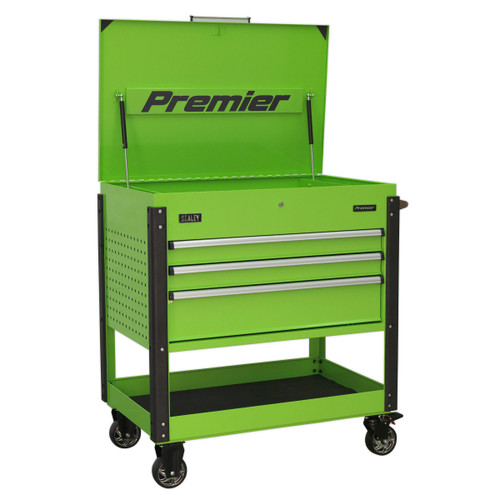 Buy Sealey AP3MHV Tool Trolley 3 Drawer Heavy-Duty (Hi-Vis Green) at Toolstop