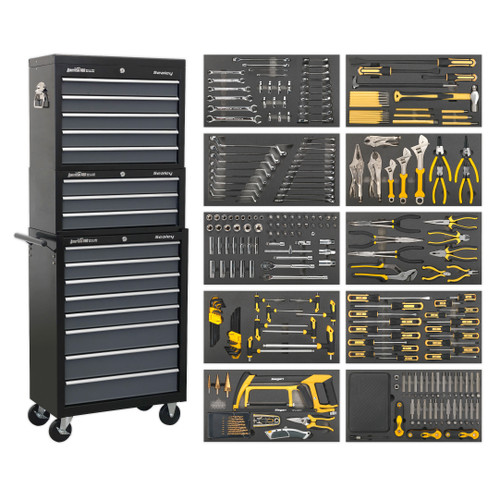 Buy Sealey AP35TBCOMBO Tool Chest Combination 16 Drawer With Ball Bearing Slides - Black/Grey & 420 Piece Tool Kit at Toolstop
