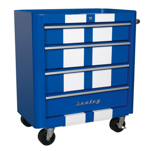 Buy Sealey AP28204BWS Rollcab 4 Drawer Retro Style- Blue With White Stripes at Toolstop
