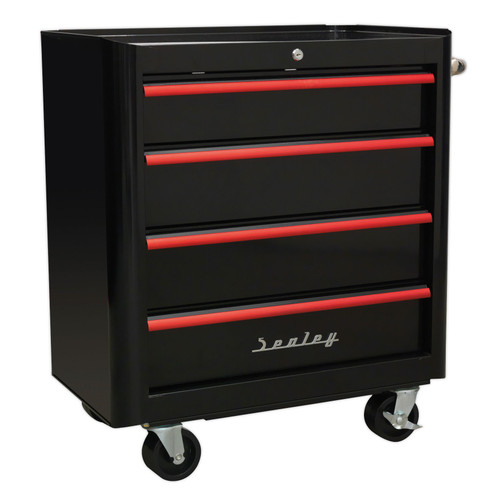 Buy Sealey AP28204BR Rollcab 4 Drawer Retro Style- Black With Red Anodised Drawer Pulls for GBP276.31 at Toolstop