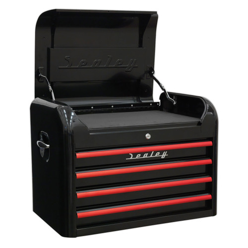 Buy Sealey AP28104BR Topchest 4 Drawer Retro Style - Black With Red Anodised Drawer Pulls for GBP262.17 at Toolstop