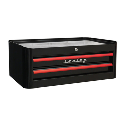 Buy Sealey AP28102BR Mid-box 2 Drawer Retro Style - Black With Red Anodised Drawer Pulls at Toolstop
