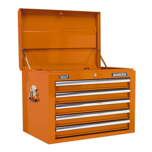 Buy Sealey AP26059TO Topchest 5 Drawer With Ball Bearing Runners - Orange at Toolstop