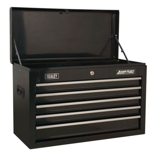 Buy Sealey AP225B Topchest 5 Drawer With Ball Bearing Slides - Black at Toolstop