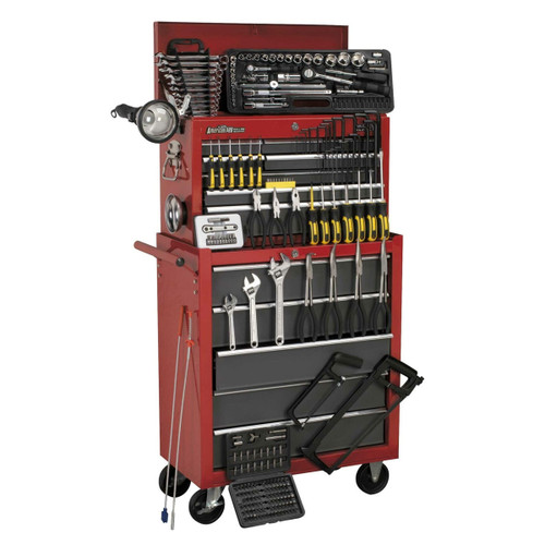 Buy Sealey AP2250BBCOMBO Topchest & Rollcab Combination 14 Drawer With Ball Bearing Runners - Red/Grey & 239pc Tool Kit at Toolstop