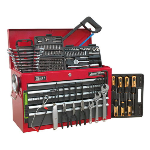 Buy Sealey AP22509BBCOMB Topchest 9 Drawer With Ball Bearing Runners - Red/Grey - 204 Piece Tool Kit at Toolstop