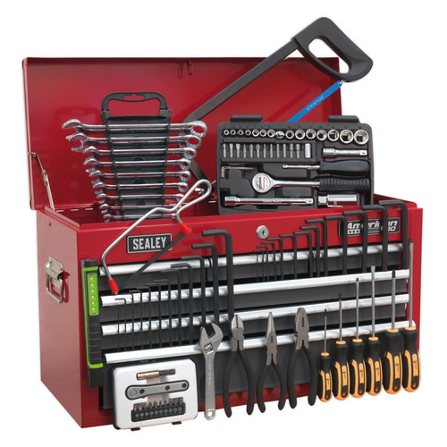 Buy Sealey AP2201BBCOMBO Topchest 6 Drawer With Ball Bearing Runners - Red/Grey - 97 Piece Tool Kit at Toolstop