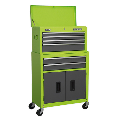 Buy Sealey AP2200BBHV Topchest & Rollcab Combination 6 Drawer With Ball Bearing Runners - Hi-vis Green/Grey at Toolstop