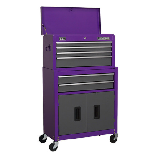 Buy Sealey AP2200BBCP Topchest & Rollcab Combination 6 Drawer With Ball Bearing Runners - Purple/Grey at Toolstop