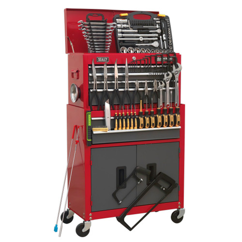 Buy Sealey AP2200BBCOMBO Tool Chest Combination 6 Drawer With Ball Bearing Runners - Red/grey & 128 Piece Tool Kit at Toolstop