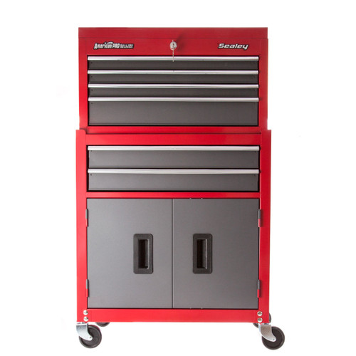 Sealey AP2200BB Topchest & Rollcab Combination 6 Drawer With Ball Bearing Runners - American Pro Red/grey - 5