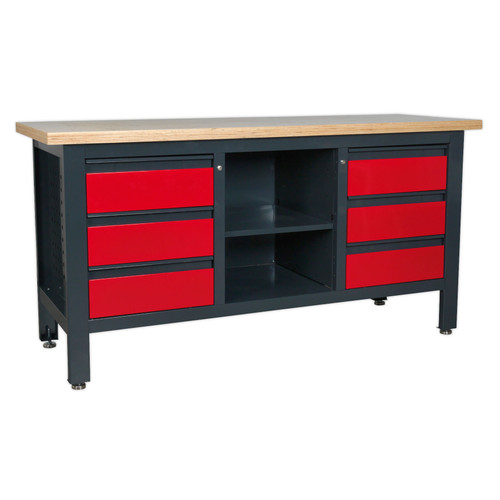 Buy Sealey AP1905D Workstation With 6 Drawers & Open Storage at Toolstop