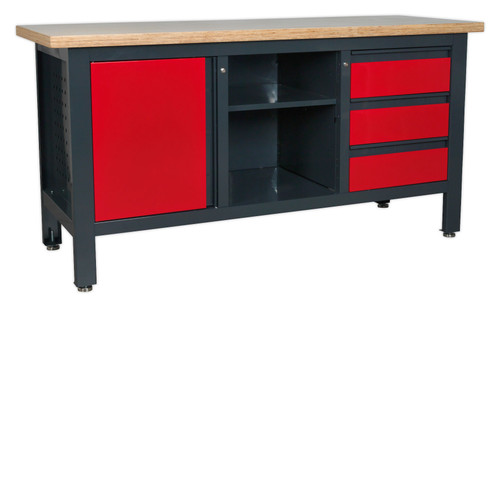 Buy Sealey AP1905B Workstation With 3 Drawers, 1 Cupboard & Open Storage at Toolstop