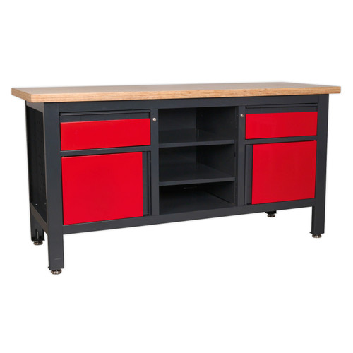Buy Sealey AP1905A Workstation With 2 Drawers, 2 Cupboards & Open Storage at Toolstop