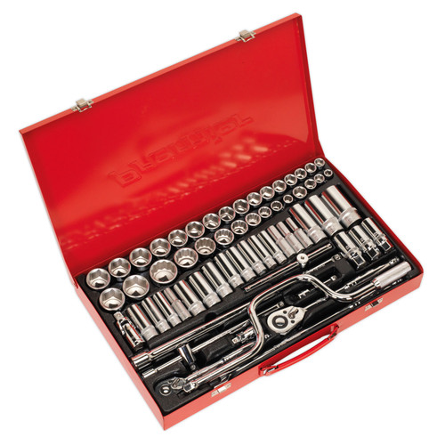 Buy Sealey AK694 DuoMetric Socket Set 3/8 & 1/2in Square Drive 6pt Walldrive (64 Piece) at Toolstop
