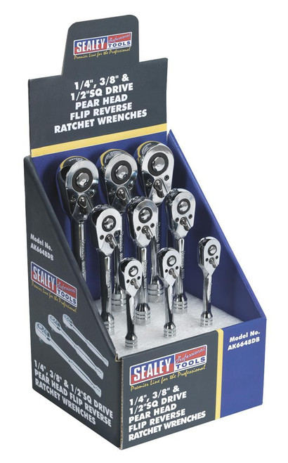 """Buy Sealey AK6648DB Ratchet Wrenches 1/4"""", 3/8"""" & 1/2""""sq Drive Display Box Of 9 at Toolstop"""