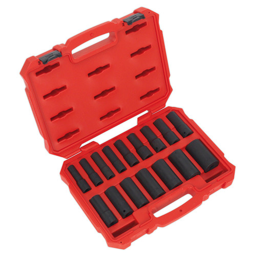 Buy Sealey AK5817M Metric Impact Socket Set 1/2in Square Drive Deep Lock-On 6pt (16 Piece) at Toolstop