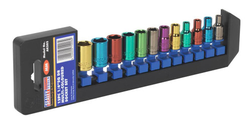 Buy Sealey AK282 Multi-Coloured Metric Socket Set 1/4in Square Drive 6pt Walldrive (12 Piece) at Toolstop