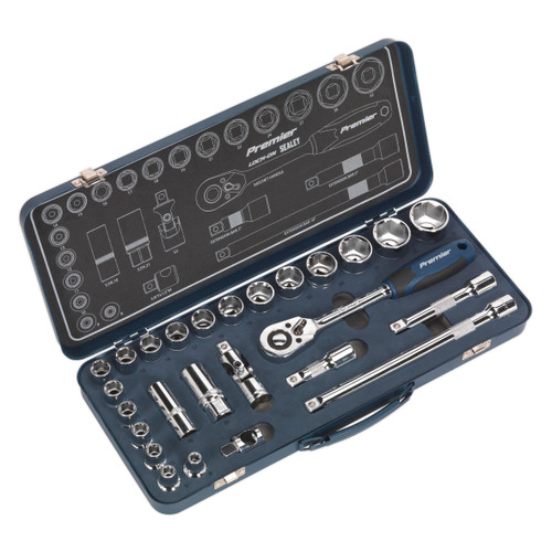Buy Sealey AK27482 Metric Socket Set 1/2in Square Drive Lock-On 6pt (26 Piece) at Toolstop