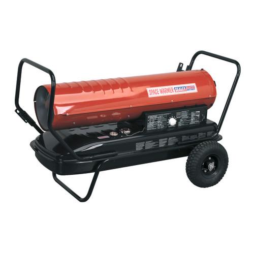 Sealey AB1758 Space Warmer Paraffin, Kerosene & Diesel Heater 175,000btu/hr With Wheels - 1