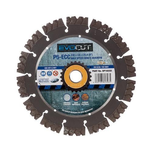 PDP DP16550 P6-ECC 6* EVOCUT GP Hard Concrete & Hard Material Diamond Blade 230mm x 22.2mm  - 2