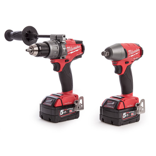 Milwaukee M18ONEPP2B-502X M18 One-Key Fuel Twin Pack - Percussion Drill and Impact Wrench (2 x 5.0Ah Batteries) - 7