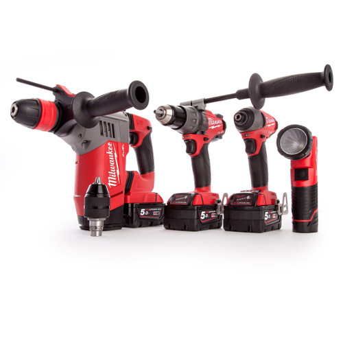 Milwaukee M18FPP4M-524B Cordless 3 Piece Kit with Torch (3 x 5.0Ah + 1 x 2.0Ah Batteries) - 5
