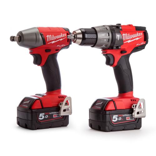 Milwaukee M18FPP2B-502X M18 Fuel Twinpack - FPD Combi Drill - FIWF12 Impact Wrench (2 x 5.0Ah Batteries) - 6