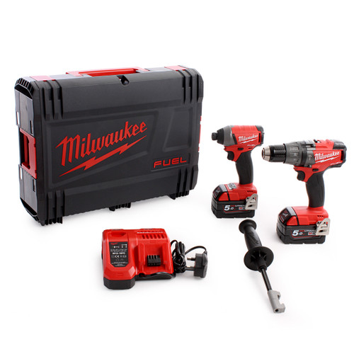 Milwaukee M18FPP2A M18 Fuel Twinpack - FPD Combi, FID Impact Driver (2 x 5.0Ah) - 3