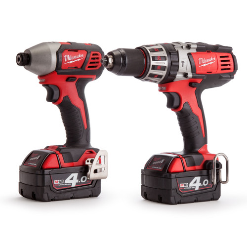Milwaukee M18 Twinpack - HD18PD Combi Drill - M18BID Impact Driver (2 x 4.0Ah Batteries) - 5
