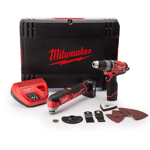 Milwaukee M12SET2A Drill Driver, Multi-Tool with Accessories 12V Cordless (1 x 2.0Ah, 1 x 4.0Ah Batteries) - 4