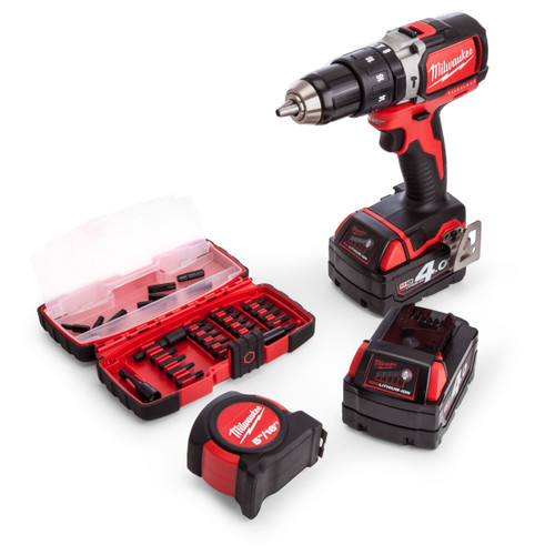 Milwaukee M18BLPD-402CA M18 Brushless Percussion Drill (2 x 4.0Ah Batteries) with Accessories & Tape  - 3