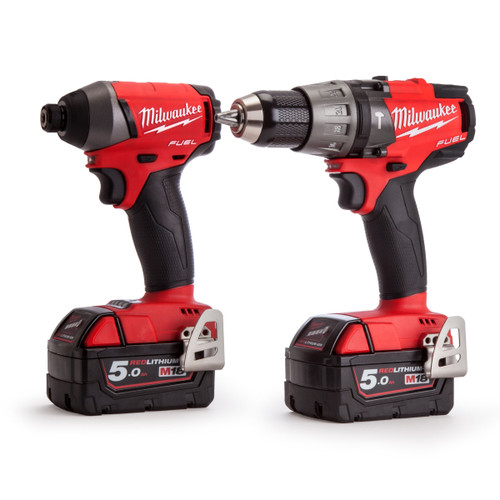 Milwaukee M18FPP2A-502X M18 Cordless li-ion Powerpack with M18FPD Percussion Drill + M18FID Impact Driver (2 x 5Ah Batteries) - 2