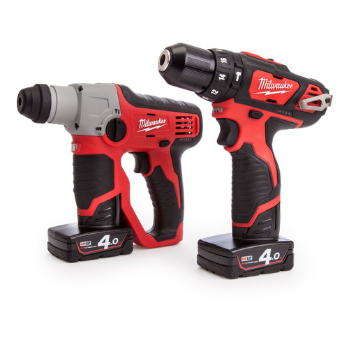 Milwaukee M12SET2F-402C M12 Cordless li-ion Powerpack with M12H SDS Hammer + M12BPD Percussion Drill (2 x 4Ah Batteries) - 1