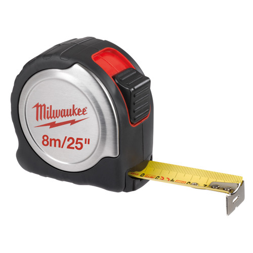 Buy Milwaukee 4932451642 Metric/Imperial Silver Tape Measure with 25mm Blade 8m / 25ft at Toolstop