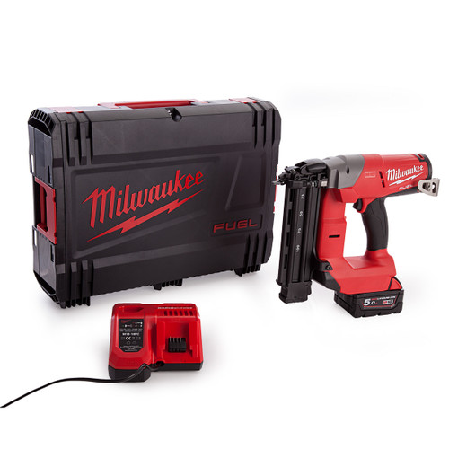 Milwaukee M18CN18GS-0X Fuel Finishing Nailer With Charger and Battery in Dynacase - 2