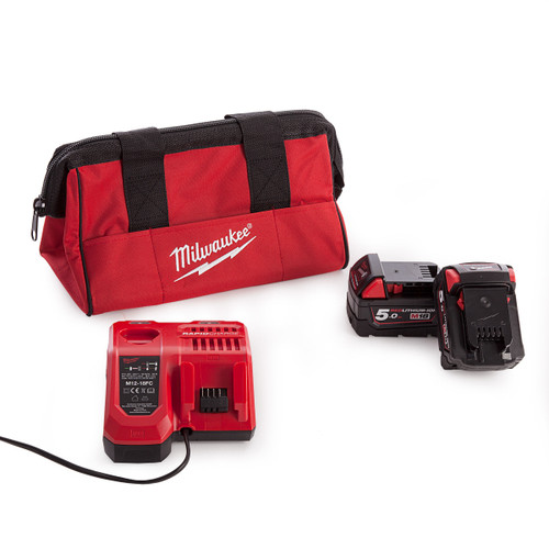 Milwaukee 2 x M18B5 Batteries, M12-18FC Rapid Fast Charger and Milwaukee M12 Small Contractors Bag - 2