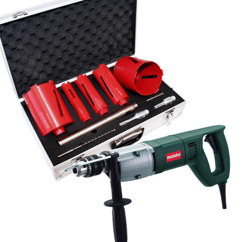 Metabo BDE1100 110V - 1,100W Rotary Drill - with 5 piece diamond core set - 5