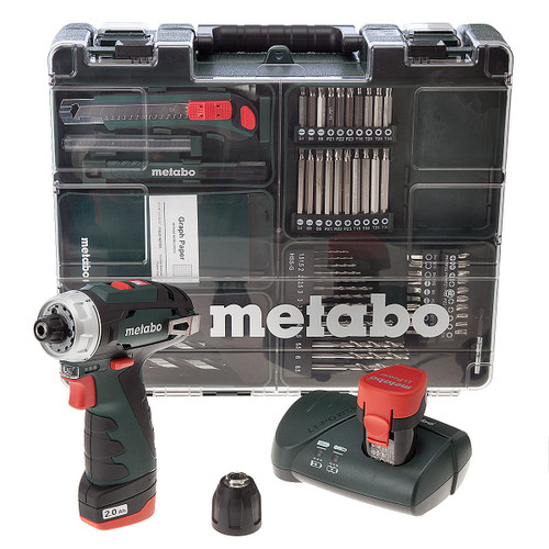 Metabo PowerMaxx BS Basic Drill Driver (2 x 2.0Ah Batteries) with 62 Piece Mobile Workshop - 4