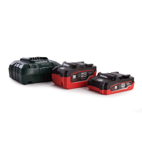 Metabo 685103000 Basic Set 1 x 18V LiHD 3.5Ah Battery & 1 x LiHD 5.5Ah Battery, 1 x ASC30-36 Fast Charger In MetaLoc Carry Case - 5
