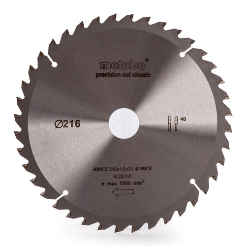 Metabo 628065000 Circular Saw Blade HW/CT for KGS18LTX216 216mm x 30mm x 40T - 2
