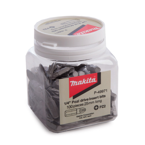 Makita P-49971 PZ2 Hex Insert Bits In Candy Tub 25mm (Pack of 100) - 2