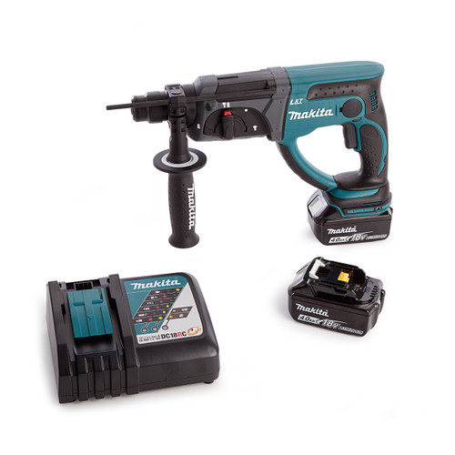 Makita DHR202Z Rotary Hammer With DC18RC Charger and Medium Toolbag (2 x 4.0Ah Batteries) - 3