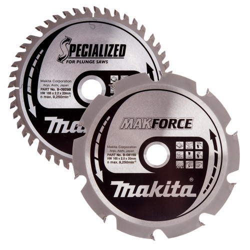 Makita B-49345 Specialized Circular Saw Blade for Plunge Saws 165mm (Pack of 2) - 3