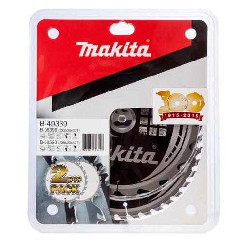 Makita B-49339 Makforce TCT Saw Blade Twin Pack for Wood 235mm x 30mm x 20 & 40T - 2